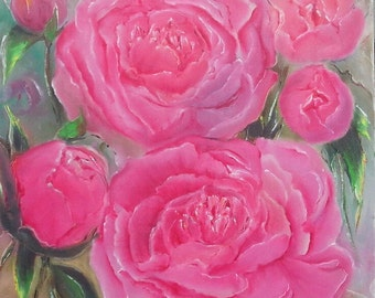 Oil Painting . The scent of peony .