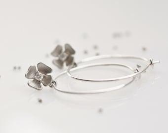 silver hoop earrings, flower earrings, flower hoop earrings, silver flower earrings