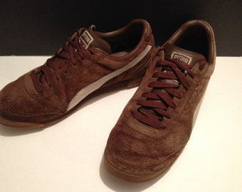 "Shoes, Puma, Trimm-Quick, brown suede, size 11.5"" US"