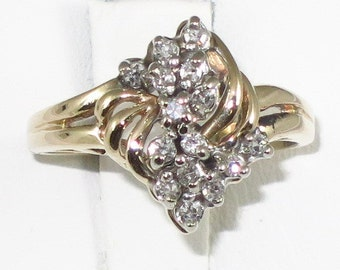 Vintage 14k yellow gold ring with 0.45ct single cut Diamond.