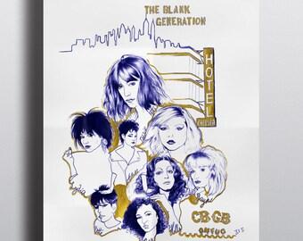 Poster blank generation, new york, punk, CBGB, patti smith, debbie harry, Illustration, Poster, art et collection, portrait, realism