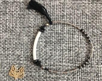 Bracelet silver - Beads semi precious - miyuki