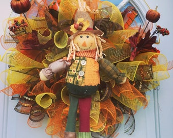 Scarecrow deco mesh wreath