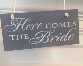Here Comes The Bride Sign-12'' x 5.5'' Sign-Beach Weathered Gray Here Comes The Bride Sign-Wedding Sign