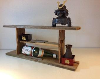 Reclaimed barn wood liquor hanging shelf