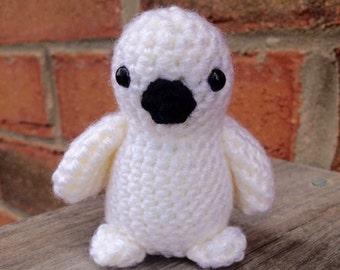 Made to Order - Snowy Owl Amigurumi - crochet animal, crochet owl, baby toy crochet, crochet toy gift