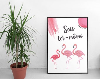 "A4 poster ""be yourself"" - pink Flamingo"