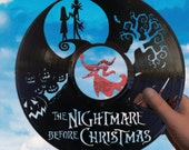 Nightmare before Christmas decor made of vinyl record Jack Skellington Tim Burton Halloween Jack and Sally NBC Wedding gift wall art party