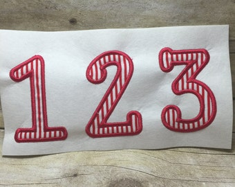 Applique Number Embroidery Design, Numbers Embroidery Design, Sticks on side Number Applique