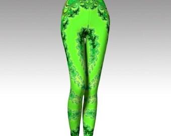 Psychedelic Leggings, Green Leggings, Yoga Leggings, Psychedelic Capris, Cosplay Legging, Womens Yoga Pant, Running Legging, Fitness Legging
