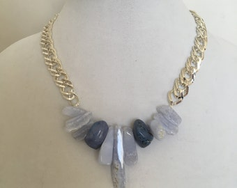 Blue Agate And Silver Chain Necklace