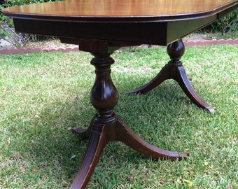 Vintage 1930s Double Pedestal Dining Table