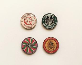 Refrigerator magnets, Harry Potter, Gringotts, Honeydukes, Three Broomsticks, Hogwarts Railways, magnet set