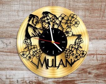 Mulan vinyl wall clock. Disney clock. Gold record