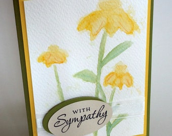 Handmade Watercolor flower sympathy card, yellow flowers, thinking of you, clean and simple