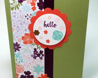 Handmade Hello card with green, coral, purple and blue flowers, thinking of you, friend, thank you, scallop circle, any occasion, birthday