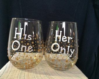 His and Her Wine Glass Set wedding