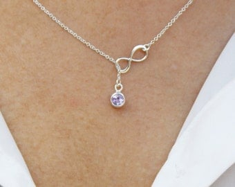 925 Sterling Silver Lariat necklace/ Infinity Amethyst Lariat necklace / Amethyst Gemstone Infinity lariat Y necklace