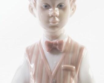 "Lladró ""European Boy"" figurine numbered ""6187"" porcelain glazed glossy"