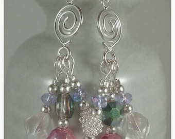 Sparkling Pink, Lavender, and Sea Foam Green Glass Crystal Beads on Silver Swirl Cluster Earrings on Sterling Silver Fishhook Earwires
