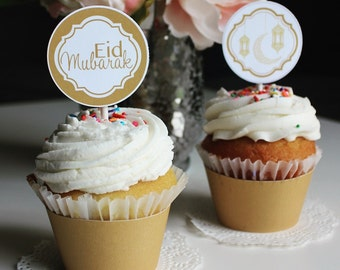 Gold & White Cupcake Wrappers - Printable
