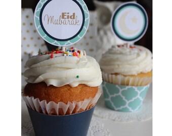 Minty Blue Eid Cupcake Topper - Printable