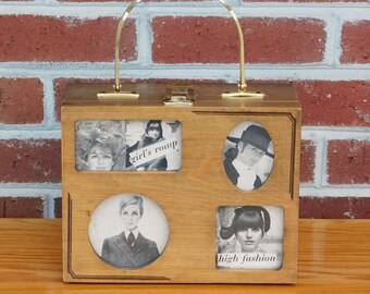 Vintage MOD Twiggy Wood Picture Frame Box Purse