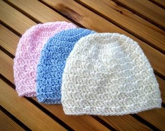 Crochet Baby Hat - Cream, Blue, or Pink