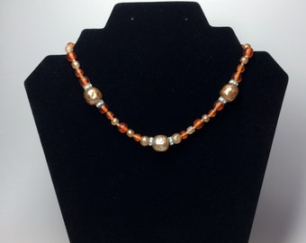 "Vintage Orange Bead Choker Necklace 16"""