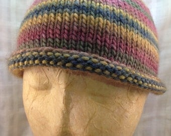 Knitted Variegated Wool Hat
