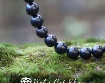 Shungite Polished Beads - 100% real shungite from Karelia, Russia, Gemstone Beads