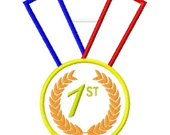 gold medal embroidery design, olympic embroidery design, olympic medal applique, gold medal applique
