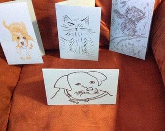 Four handmade greeting cards