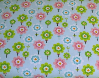 Cotton Jersey little Darling wildflower meadow light blue fabric by the metre floral 0.50 m