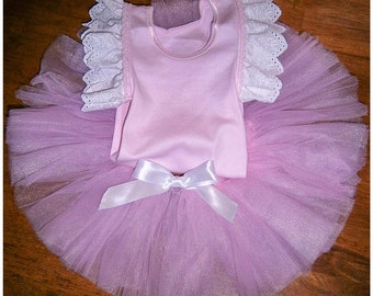 Pink Flutter Tutu with Pink and White ruffle tank top set