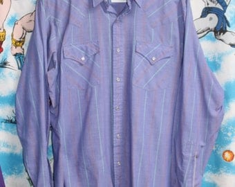Vintage 1980s ELY CATTLEMAN Country Western Pearl Snap Cowboy Pin Stripe Rockabilly Purple Shirt