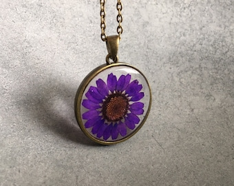 Royal Purple Chrysanthemum in Antique Bronze Slim Open Back Bezel, Resin Necklace, Pendant, Resin Jewelry, Pressed Flower, Valentine's Day