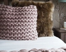 """Large 22"""" chunky knit mink blush cushion - soft pink knitted throw pillow - large square knitted throw cushion - blush scandinavian cushion"""