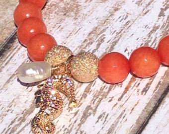 CORAL JADE SEAHORSE Orange Stretchy Stacking Bracelet w/ Premium Gold Vermeil and Cubic Zirconia Pave Seahorse Charm and Freshwater Pearl!!