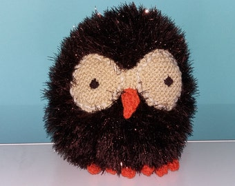 Handmade Knitted Brown Owl - Small