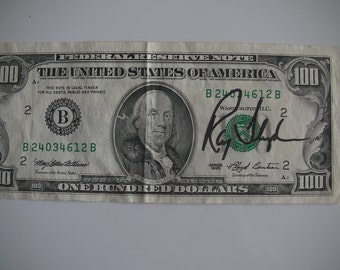 Ray Floyd autographed one hundred dollar bill golf collectible