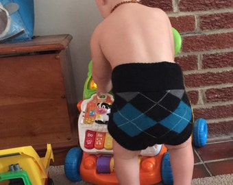 Upcycled Cashmere/ wool Diaper Soaker diaper cover with extra soaker layer-Medium