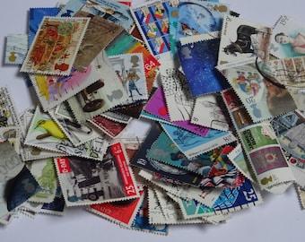 50 Stamps UK mixture - paper stamps, paper ephemera, scrapbooking supplies