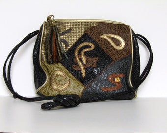 1980's Vintage mixed fake -snake pattern multi-coloured patchwork crossbody bag