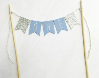 Cake bunting topper 'One' - French blue