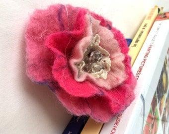 Felted Flower Brooch Brooch Felt Felted Brooch Pink Flower Brooch Flower Felt  Felted Wool Flower Pin Flower Felt Pin Free Shipping!