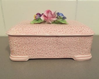 Antique cute pink SYLVAC jewellery box with floral top