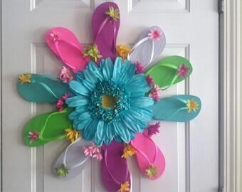 A fun flip flop and flower wreath