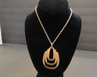 Vintage signed  TRIFARI chunky bold pendant necklace