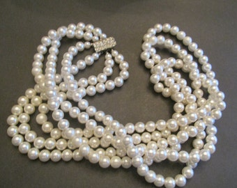 Beautiful Vintage Japan 3 Strand Faux Pearl Necklace With Fabulous Rhinestone Clasp